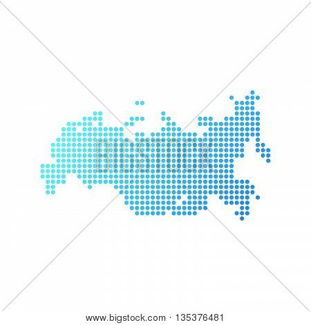 Map of Russia, Vector Icon in blue modern style