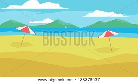 flat minimalistic cartoon style beach, water and clouds