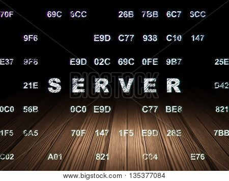 Web design concept: Glowing text Server in grunge dark room with Wooden Floor, black background with Hexadecimal Code