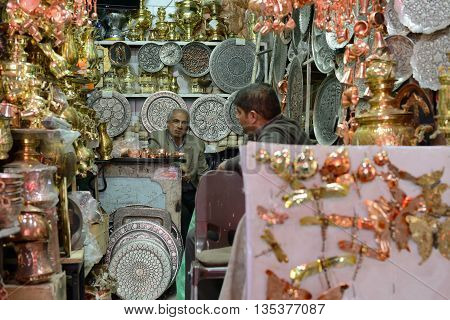 ISFAHAN - APRIL 19: Traditional iranian souvenirs in market (Bazaar) in Isfahan Iran on April 19 2015. Bazaar of Isfahan is the most important tourist attraction in Isfahan Iran.