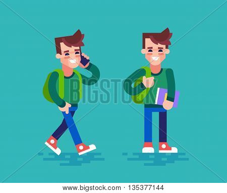 Happy college or university student in different poses. The student holds the book and talking on the phone. Cartoon character set in flat design.