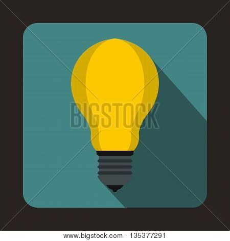 Light bulb icon in flat style on a blue background