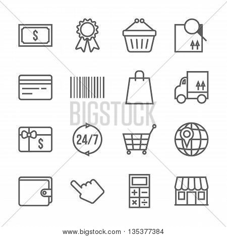 Vector shopping icons set, thin black line