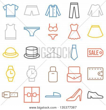 Vector clothing icons set, thin color line