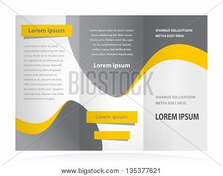 Business brochure design template curves waves grey yellow