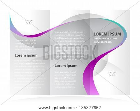 Business brochure design template curves waves transparent