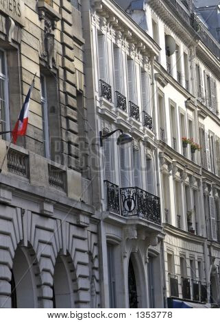 French Architecture With Flag