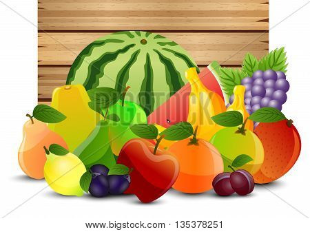 Illustration of A wooden background with fruits