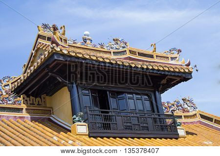 Traditional oriental architecture in Tu Duc king's tomb in Hue, Vietnam