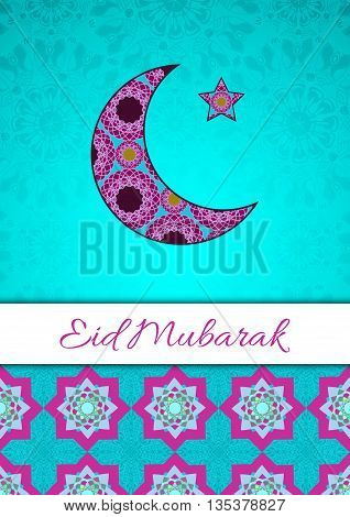 Vector greeting card to Ramadan and Feast of Breaking the Fast. Greeting background with text Eid Al Fitr and muslim symbols. A4 format