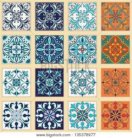 Vector set of Portuguese tiles. Beautiful colored patterns for design and fashion. Azulejo Talavera Moroccan ornaments in four different color combination