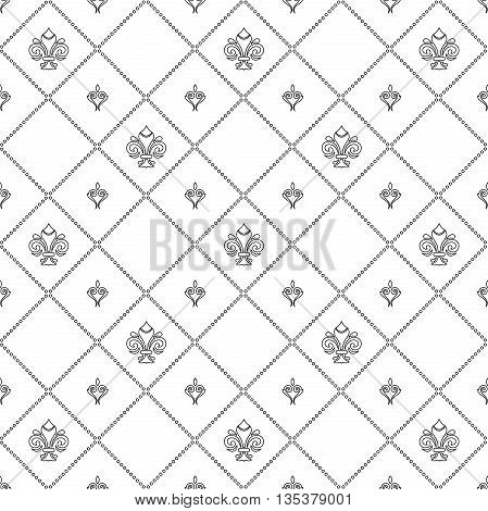 Seamless vector ornament. Modern geometric pattern with royal lilies. Black and white pattern