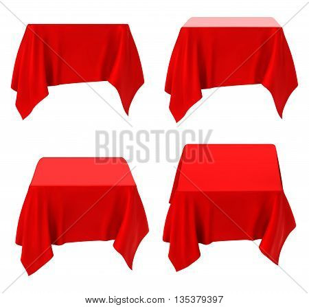 red tablecloth set isolated on white. vector illustration.