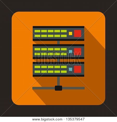 Servers icon in flat style on a orange background