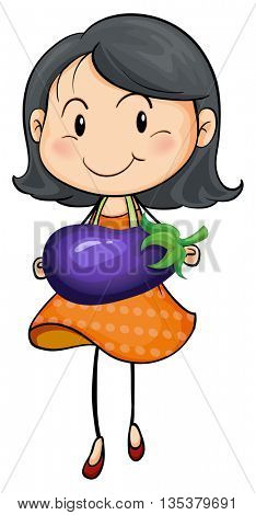 Girl carrying eggplant in hands illustration
