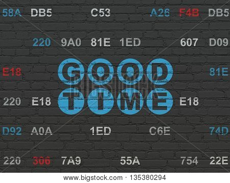 Timeline concept: Painted blue text Good Time on Black Brick wall background with Hexadecimal Code