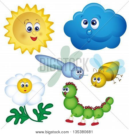Illustration of set of bugs. Cartoon vector illustration. Vector illustration