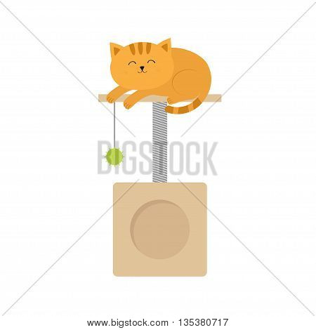 Cute lying sleeping orange cat. Moustache whisker. Funny cartoon character. Scrathing rope post. Square house with hanging ball toy. Isolated. White background. Flat design. Vector illustration