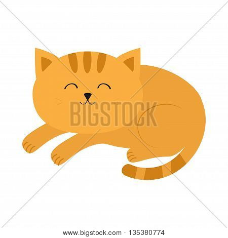Cute lying sleeping orange cat with moustache whisker. Funny cartoon character. White background. Isolated. Flat design. Vector illustration