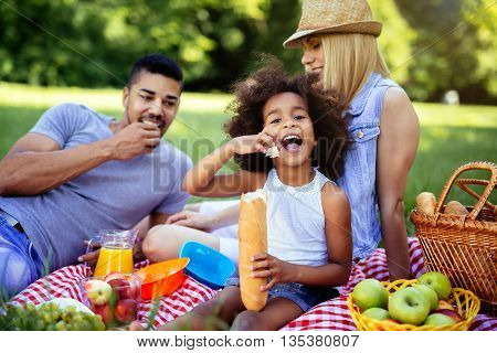 Family enjoying picnicking in nature outdoor in a park