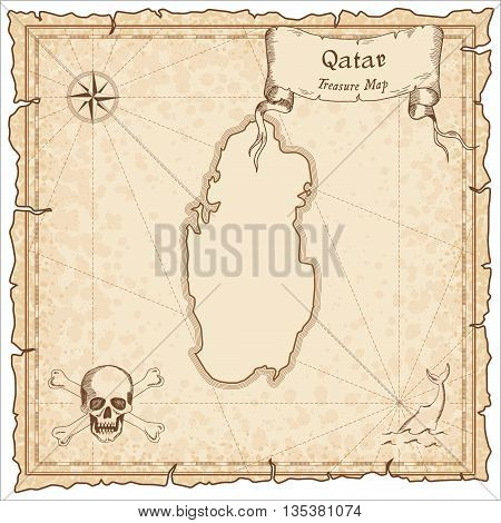 Qatar Old Pirate Map. Sepia Engraved Template Of Treasure Map. Stylized Pirate Map On Vintage Paper.