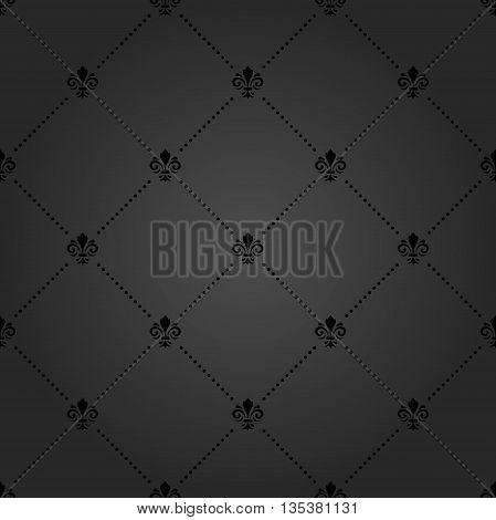 Seamless vector dark ornament. Modern geometric pattern with royal lilies