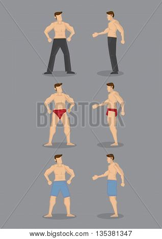 Set of three vector cartoon illustration of sexy topless men with muscular body wearing underwear boxer shorts and long pants in front and side view isolated on plain grey background.