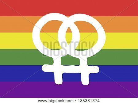 Lesbian symbol on an LGBT flag; vector illustration