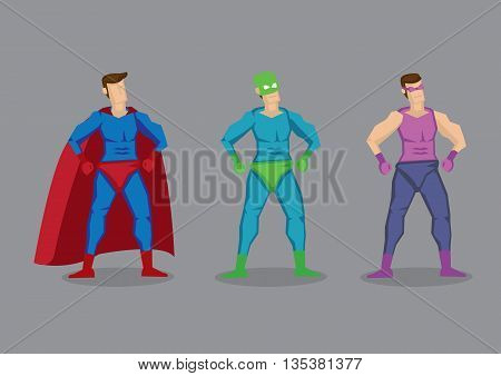 Set of three vector cartoon superhero wearing fancy costumes and masks. Character design isolated on grey background.