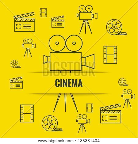 Abstract background with cinema camera, film reel,  filmstrip clapboard, clapper. The concept film production, movie making. Layout, flyer, poster for announcement