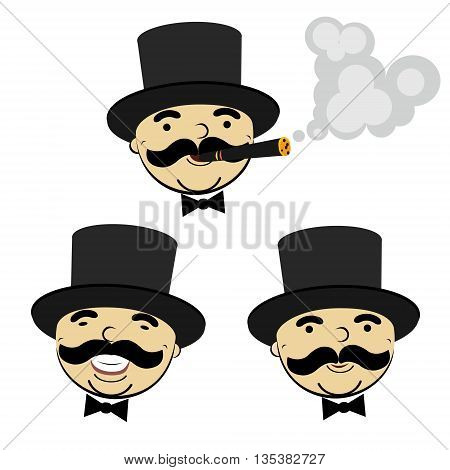 set of  men in top hats - design element