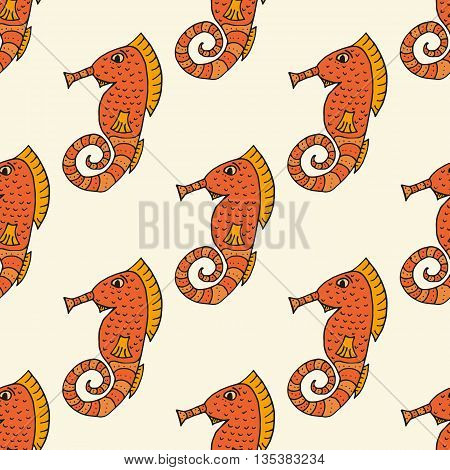 Sea Horse Vector Art Background Design For Fabric And Decor. Seamless Pattern