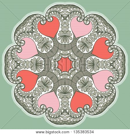 Card with colored circular floral ornament. Round Pattern Mandala. Circular pattern with flowers. Floral round pattern for the greeting card or invitation template frame design for card vector illustration