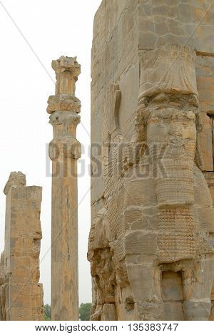 Detail of ancient sculptures (Gate of All Nations) of Persepolis Iran