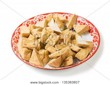fried tofu or bean curd in tray traditional thai ingredient for food