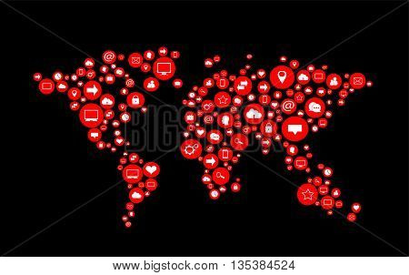 world map flat red color with social media icons vector