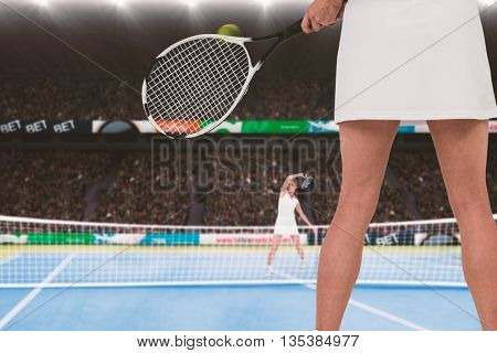 Athlete playing tennis against an opponent