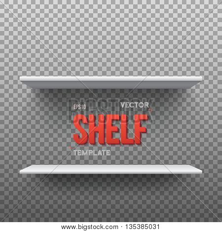 Illustration of Realistic Vector Shelf. EPS10 Empty Shelf for Store, Exhibitions, Shows. Vector Shelf on Wall. Realistic Shelf on Transparent Overlay Background