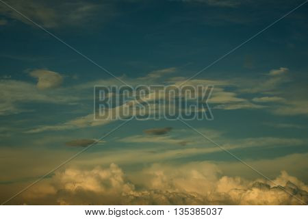 blue sky with cumulus white fluffy clouds on air natural background with nobody