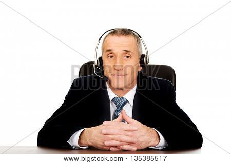 Call center man sitting in the office