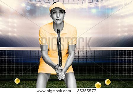 Composite image of female athlete waiting a tennis ball in a court