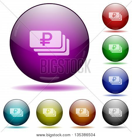 Set of color Ruble banknotes glass sphere buttons with shadows.