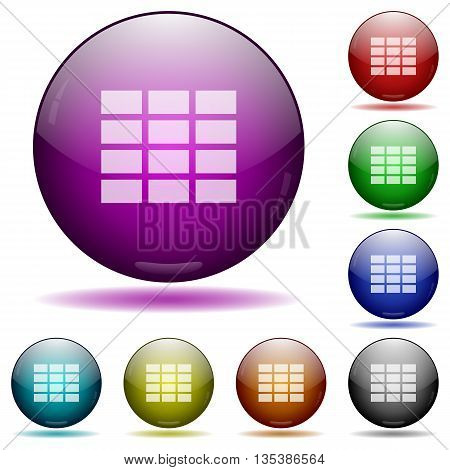 Set of color Spreadsheet glass sphere buttons with shadows.