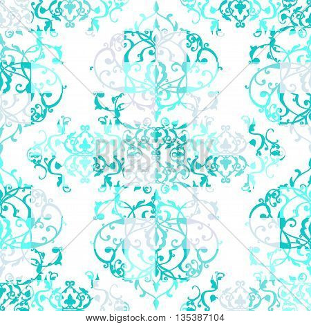 Vector Abstract Seamless Patchwork Pattern With Geometric And Floral Ornaments, Stylized Flowers, Do