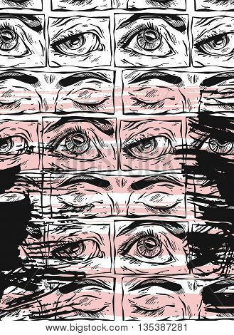Hand drawn vector abstract textured card template. Illustration of many woman graphic eyes.Sketchy female eyes.Eye drawing.Eye sketch.Fashion illustration.