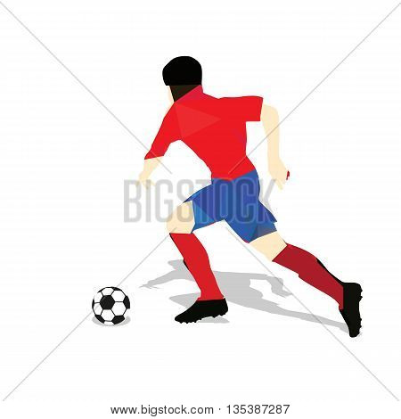Abstract soccer player. Geometric soccer player running vector football player