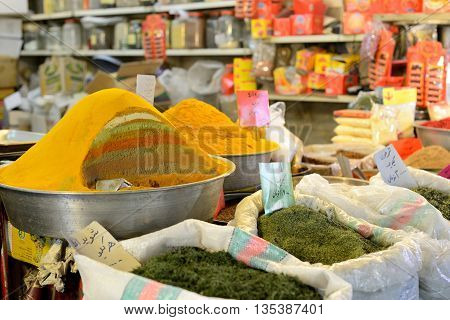 ISFAHAN - APRIL 19: Traditional iranian food and spices in market (Bazaar) in Isfahan Iran on April 19 2015. Bazaar is the most important tourist attraction in Isfahan Iran.