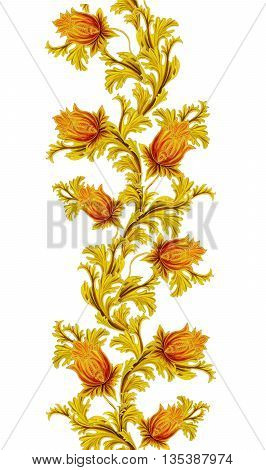 Pattern seamless. Old style stylized flowers and leaves swirls gold braiding.Vertical floral border isolated.