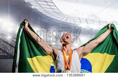 Athlete posing with gold medals after victory against sports arena