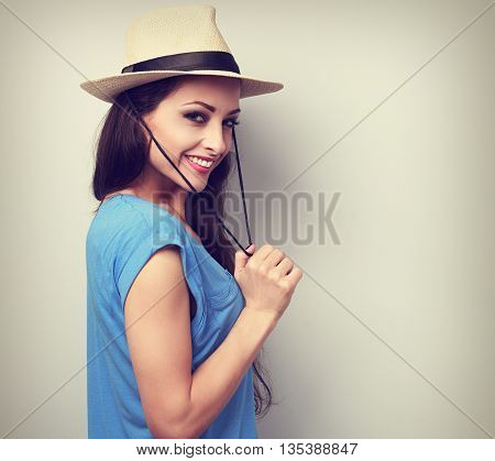 Happy Joying Woman With Sraw Hat Looking With Natural Emotion. Toned Vintage Portrait